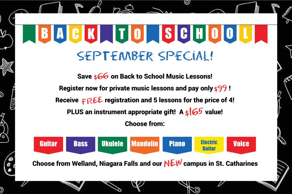 Back-to-school September Special, Niagara School of Music